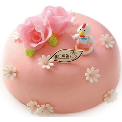 粉色天使,生日蛋糕,翻糖蛋糕,默认,,河北天冠鲜花连锁